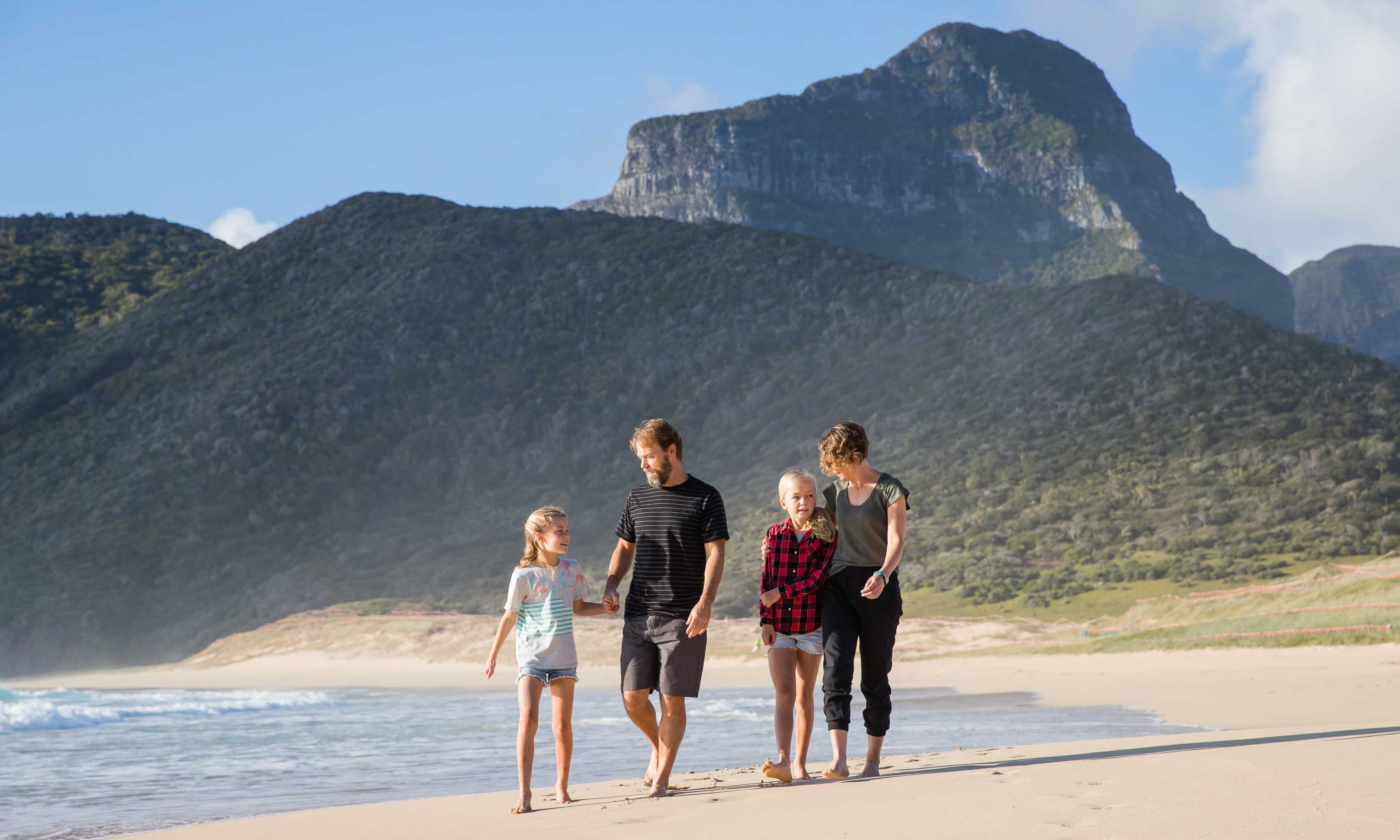 Luke Hanson, Dani Rourke and their kids Elsie and Pixie, Lord Howe Island